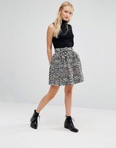 Фактурная юбка с мелким цветочным принтом Newlily - Мульти