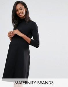 Короткое приталенное платье с отворачивающимся воротом Isabella Oliver - Черный