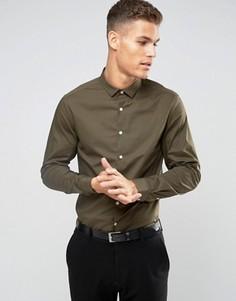 Стретчевая рубашка хаки узкого кроя ASOS - Зеленый