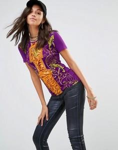 Футболка с логотипом V с тигром Versace Jeans - Мульти