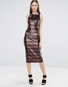 Облегающее платье миди с пайетками в полоску и высокой горловиной Lavish Alice - Черный