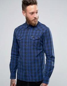 Рубашка в стиле вестерн с длинными рукавами Wrangler Heritage - Синий