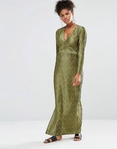 Платье макси с глубоким V-образным вырезом и длинными рукавами Liquorish - Зеленый