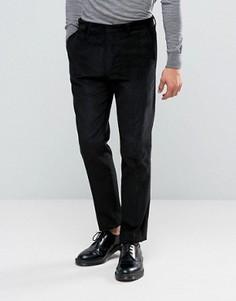 Черные вельветовые брюки узкого кроя ASOS - Черный
