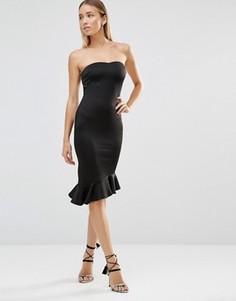 Платье-бандо миди с баской AX Paris - Черный