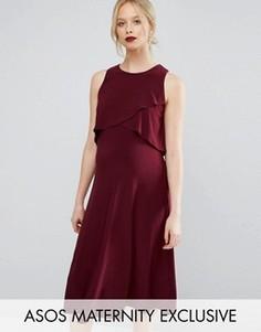Двухслойное платье миди для беременных ASOS Maternity - Красный