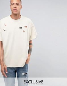 Окрашенная рваная oversize‑футболка Reclaimed Vintage - Stone
