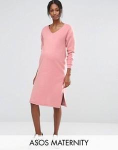 Пушистое трикотажное платье ASOS Maternity - Розовый