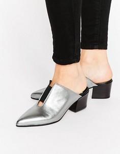 Кожаные сандалии с острым носком ASOS SWEETNESS - Серебряный
