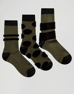 3 пары носков с пушистыми вставками ASOS - Зеленый