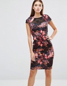 Платье с цветочным принтом и кружевной вставкой Paper Dolls - Мульти