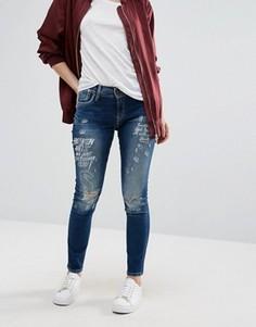 Джинсы бойфренда с принтом Pepe Jeans - Синий
