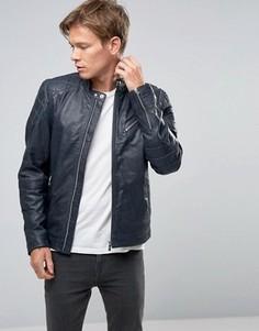 Темно-синяя кожаная байкерская куртка со стеганой отделкой Goosecraft - Темно-синий