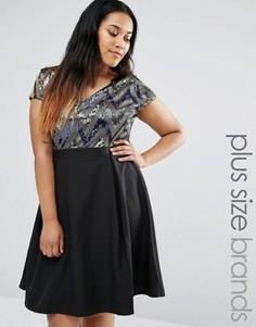 Платье для выпускного с пайетками на лифе Paper Dolls Plus - Мульти