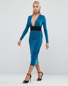 Платье-футляр с длинными рукавами и контрастным поясом Hedonia - Синий