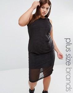 Платье миди из искусственной замши с сетчатой вставкой One One Three - Черный