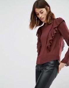 Блузка с рюшами и рукавами-колоколом Vero Moda - Коричневый