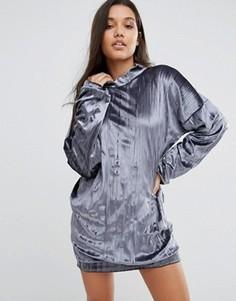 Плиссированное оversize-платье из бархата Missguided - Серый