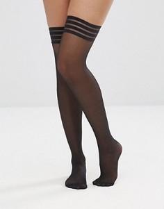 Прозрачные чулки с клейкими полосками Leg Avenue Stay Ups - Черный