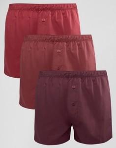 Набор из 3 бордовых тканых боксеров ASOS - СКИДКА 14 - Красный