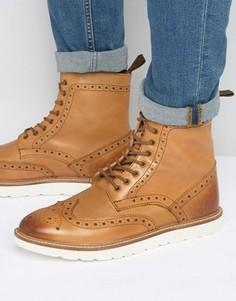 Ботинки-броги с контрастной подошвой Frank Wright - Рыжий