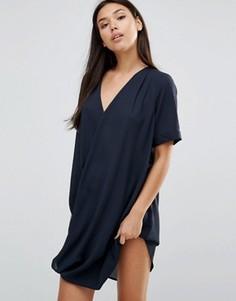 Шифоновое платье мини с запахом AX Paris - Темно-синий