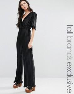Комбинезон с глубоким вырезом Fashion Union Tall - Черный