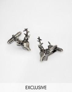 Запонки в винтажном стиле с оленьими рогами Simon Carter - Серебряный