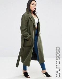 Пальто миди с добавлением шерсти с завязывающимся поясом ASOS CURVE - Зеленый