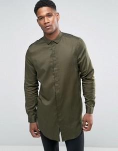 Супердлинная драпированная рубашка из хлопка цвета хаки ASOS - Зеленый