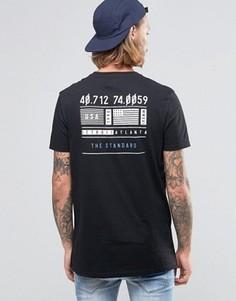 Черная удлиненная рубашка с флажком на груди и принтом сзади ASOS - Черный