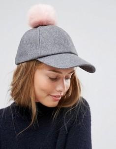 Шерстяная шапка с помпонами из искусственного меха ASOS - Серый