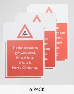 Набор из 6 рождественских открыток Brainbox Candy - Мульти Gifts