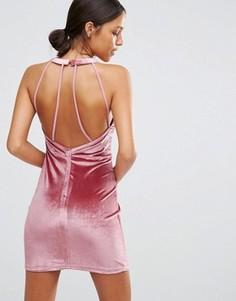 Бархатное облегающее платье с вырезом капелькой Love & Other Things - Розовый