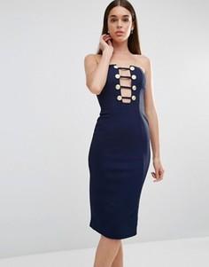 Платье миди с декольте и отделкой пуговицами в стиле милитари Rare - Темно-синий