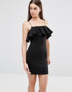 Платье с оборкой и отделкой цепочками Rare - Черный