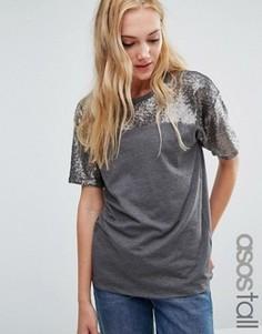 Свободная футболка с расшитой пайетками кокеткой ASOS TALL - Мульти