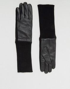 Черные кожаные перчатки с манжетами в рубчик ASOS - Черный