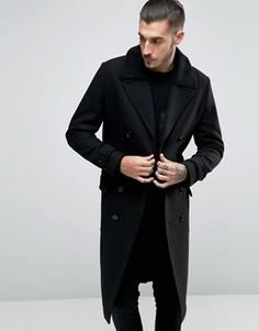 Двубортное пальто с поясом и воротником борг ASOS - Черный
