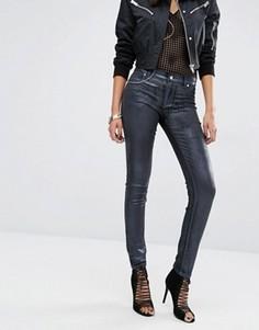 Зауженные джинсы с классической талией и покрытием металлик Versace Jeans - Темно-синий