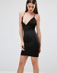 Платье с глубоким декольте и перекрестными бретельками сзади Rare - Черный