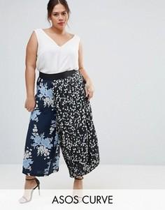 Юбка-брюки с цветочным принтом ASOS CURVE - Мульти