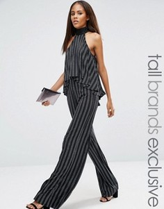 Широкие брюки в блестящую полоску с высокой талией Naanaa Tall - Черный