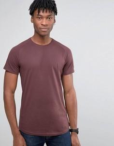 Удлиненная футболка с рукавами реглан и асимметричной кромкой Selected Homme - Красный