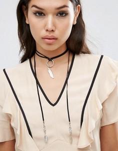 Кожаное ожерелье-чокер с листиками ASOS - Черный