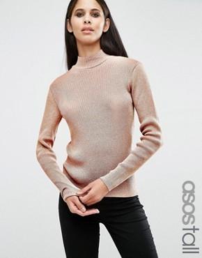 Джемпер с высокой горловиной и оттенком металлик ASOS TALL - Розовый
