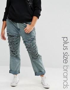Рваные джинсы бойфренда с отделкой пайетками Alice & You - Синий