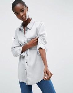 Серая выбеленная рубашка из денима в стиле милитари ASOS - Серый