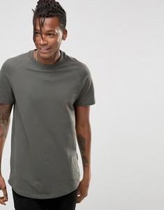 Длинная футболка из ткани пике с асимметричным краем Selected - Серый