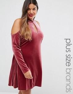 Бархатное свободное платье с открытыми плечами Alice & You - Фиолетовый